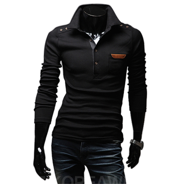New autumn spring 2016 men's classic long sleeve fitness casual t shirt pocket epaulets camiseta tops & tees t-shirt
