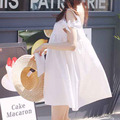 Nursing Clothing Summer Cotton & Linen Sleeveless One-piece Dress White Brief Maternity Blouse Dresses