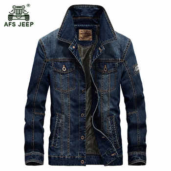 AFS JEEP 2017 Autumn men's fashion casual brand high quality cotton cowboy jacket coat man spring denim blue jackets coats M-4XL - DISCOUNT ITEM  39% OFF All Category