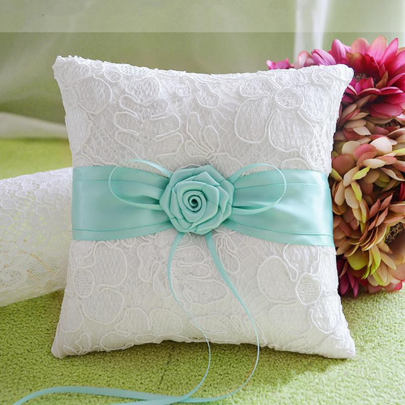 Handmade Tiffany Blue Lace Wedding Ring Pillow Light Beige