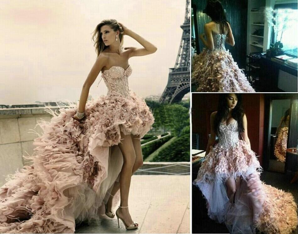 new 2017 pink feathers wedding dresses with beaded front short long back bridal gown vestidos de