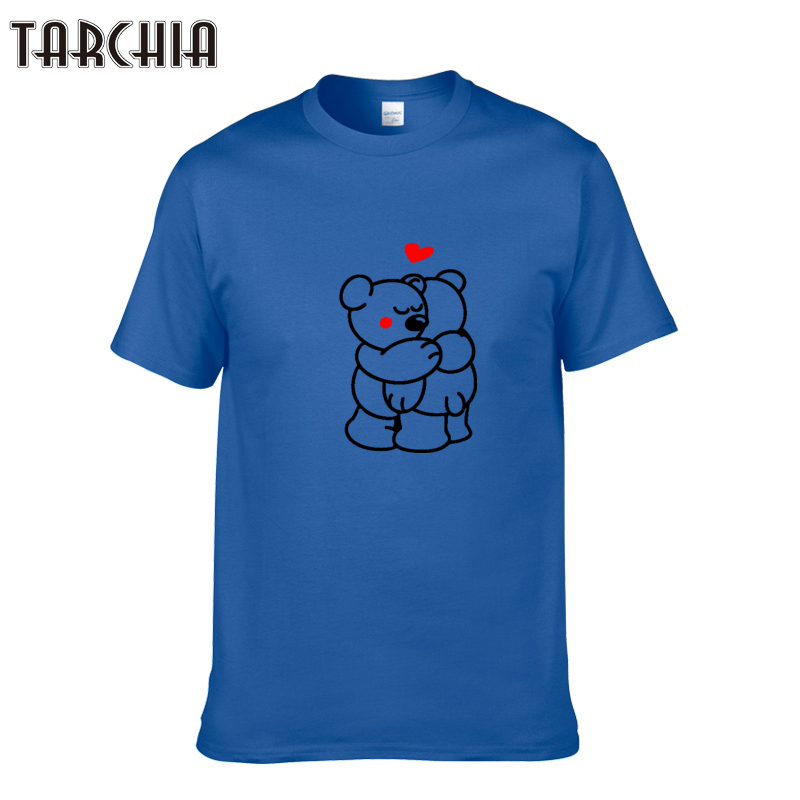 TARCHIA 2018 Summer Casual Cotton T-shirts Men Slim Fit Short Sleeve Cute Couple Bear Print T Shirt Brand Clothes Tshirt Homme