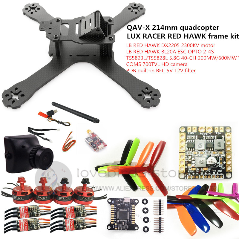 DIY FPV mini drone QAV-X 214mm quadcopter LUX RACER frame kit RED HAWK DX2205 + RED HAWK BL20A ESC + 700TVL CAM +TS5823L/TS5828L ...