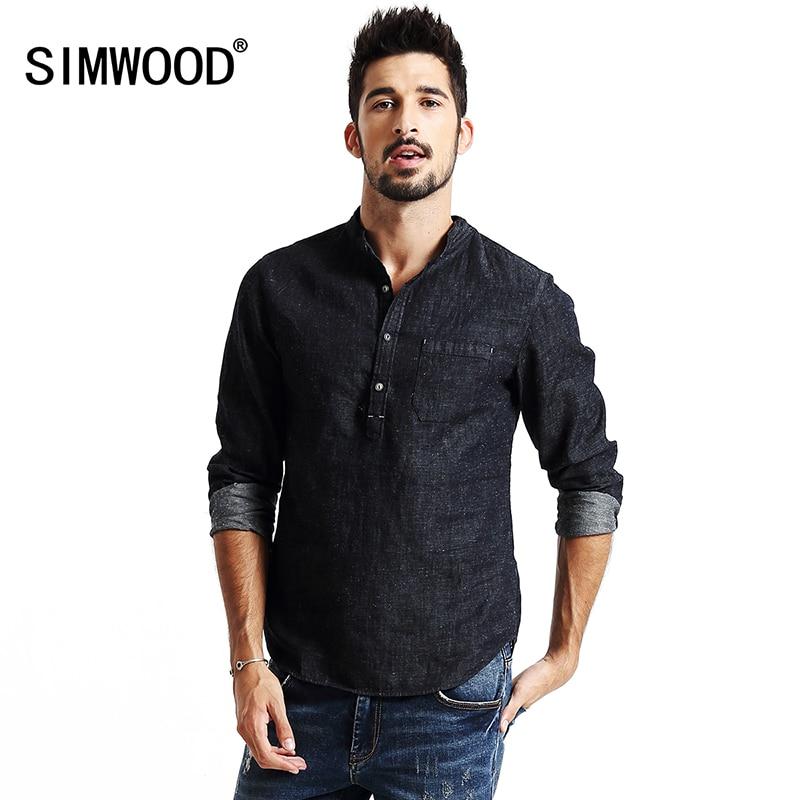 SIMWOOD ربيع جديد 2019 قمصان رجالية كم طويل الدينيم أزياء قميص القطن والكتان عارضة ماركة الملابس CS1566