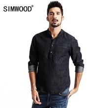 SIMWOOD New spring 2019 shirts men long sleeve Denim fashion shirt cotton and linen casual brand clothing CS1566