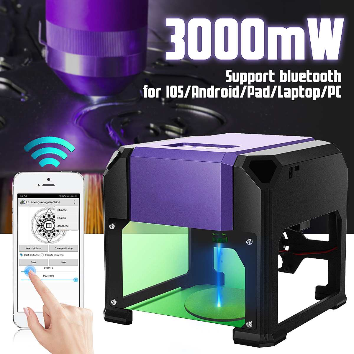 Upgrade Bluetooth Mini 3000MW Purple DIY Engraver Desktop Wood  Router/Cutter/Printer CNC Laser Engraving Machine AC 110-220V