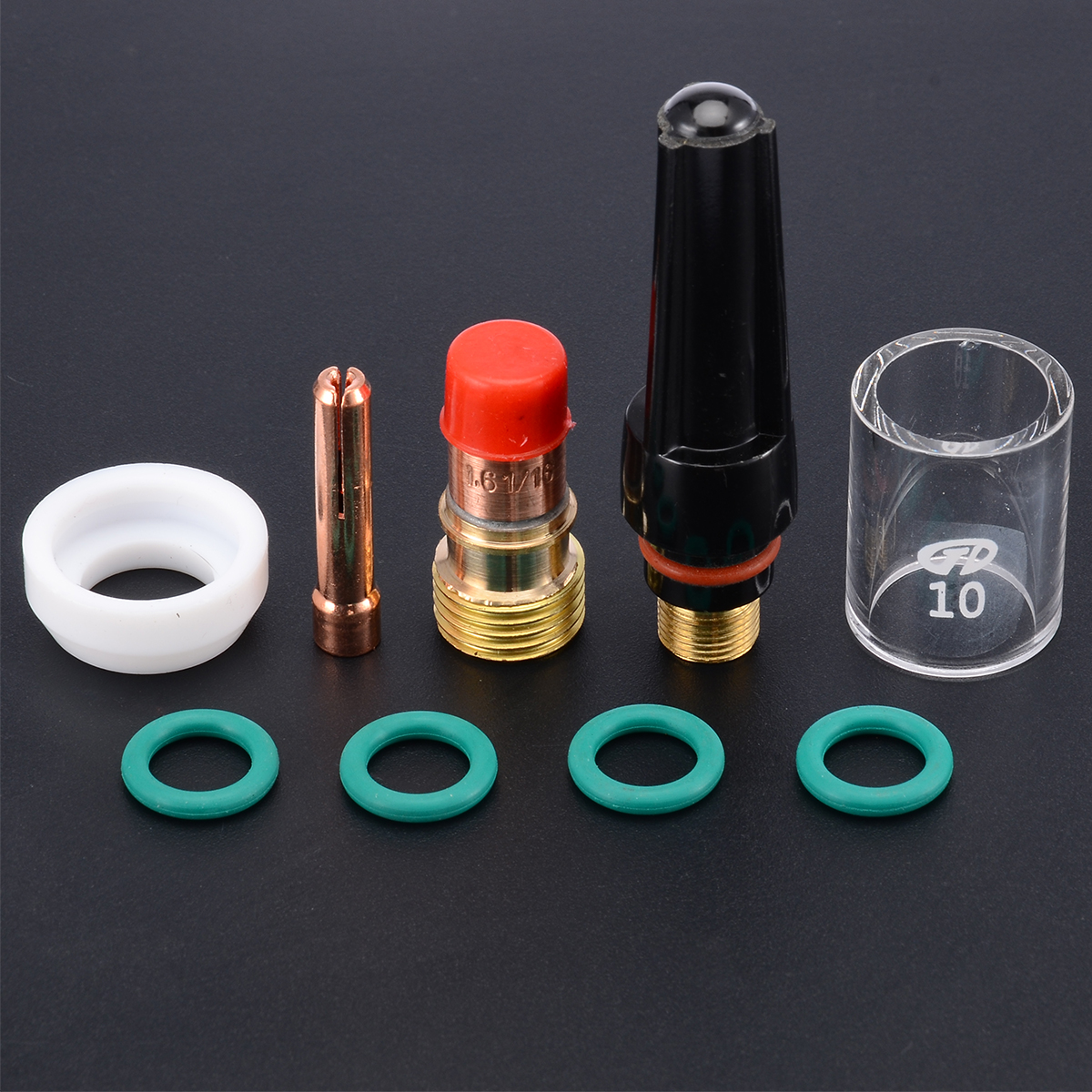 9Pcs 1.6mm Welding Torch TIG Gas Lens Glass Cup Kit With O-rings  Collet Nozzle Kit For WP-17/18/26 1/16''  TIG Welding Torch