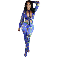 New Print 2017 Winter Two Piece Jumpsuit Long Sleeve Deep V Neck Hollow Out Slim Jumpsuits