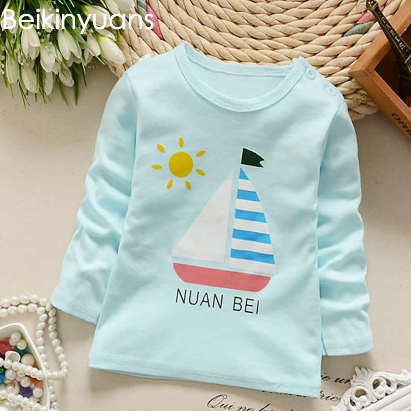 Baby Boys T-shirt långärmad Soft Solid Kids Candy Färg Girls - Babykläder