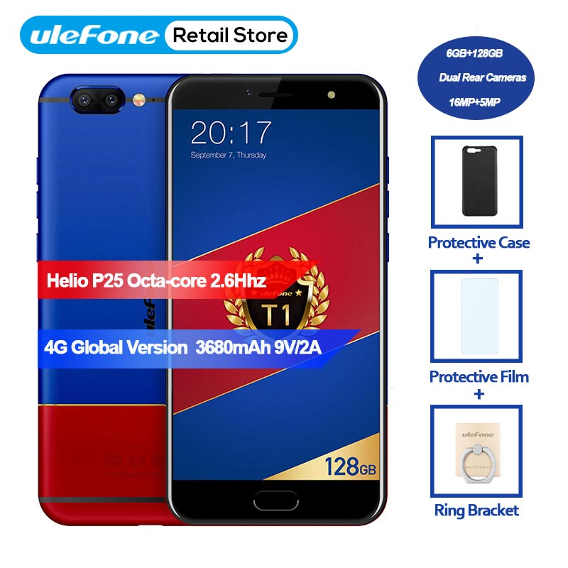 Ulefone T1 4g Mondial Version Smartphone 6 gb + 128 gb 5.5 FHD P25 Octa base Android 7.0 double arrière cam 16MP + 5MP 3680 mah mobile téléphone