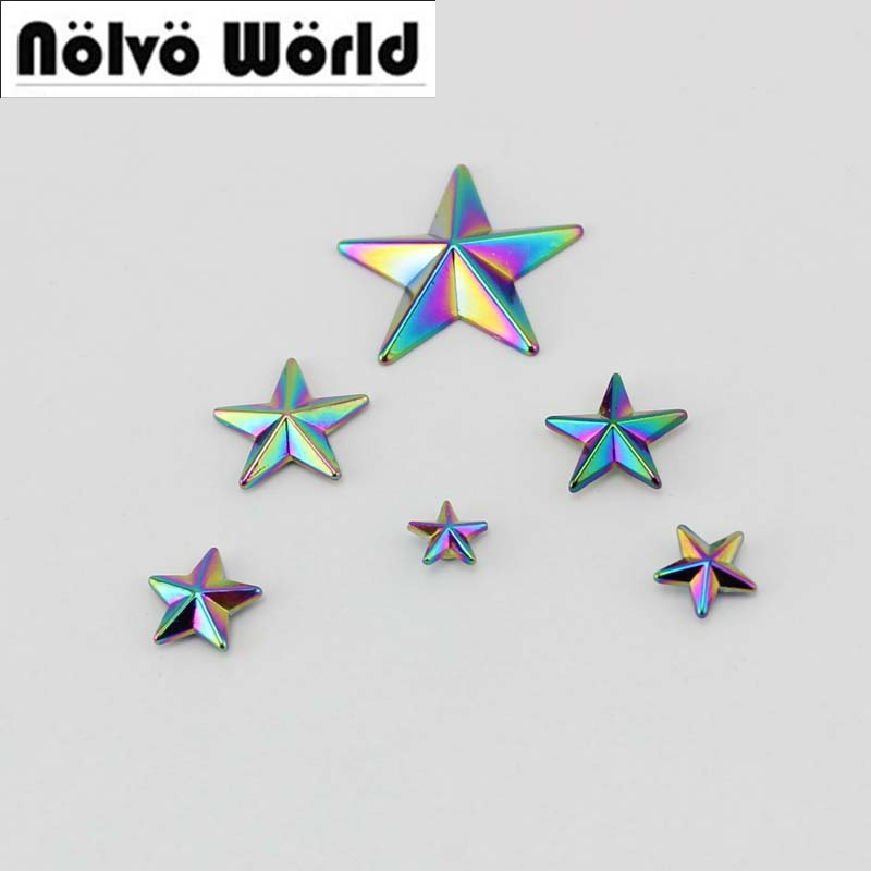 100pcs Rainbow Pentagram Cover Rivet Head Copper Feet Solid Rivets Fasteners  High Quality Leather Crafts Bags Shoes Studs 50pcs