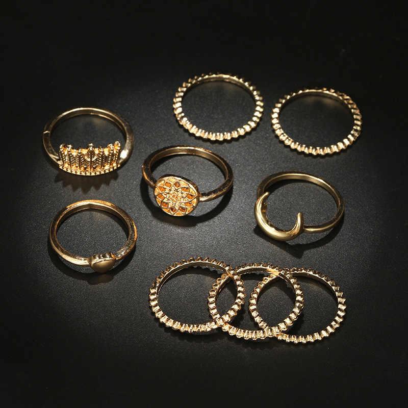 1 ชุด Golden ฤดูใบไม้ร่วง Vintage Knuckle แหวนผู้หญิง Boho ดอกไม้เรขาคณิตชุดแหวนคริสตัล Bohemian เครื่องประดับนิ้วมือ