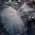 Cinza prata Puffy Regresso A Casa Vestidos de Formatura 100% Real Photo Frisada Applique Colher Sheer Voltar Tulle Ruffes Prom Party Vestido