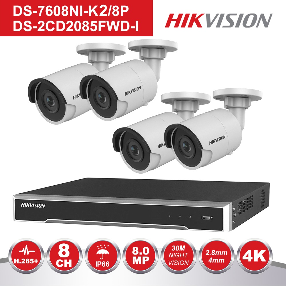 HIK 8 Channel POE NVR Kit CCTV Security System 4PCS Outdoor 8MP Bullet POE IP Camera P2P Video Surveillance System
