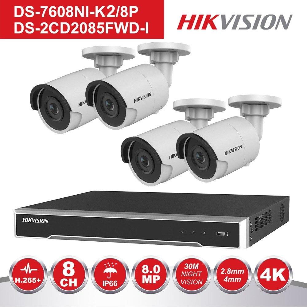 HIK 8 canales NVR POE Kit CCTV, sistema de seguridad con 4 piezas al aire libre 8MP bala cámara IP POE P2P Video vigilancia sistema de