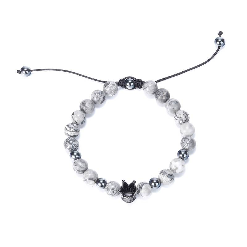 Ourania Rope Crown Stainless Steel bracelet Natural Stone Accessories Jewelry Black fashion bracelet men charm bracelet in Strand Bracelets from Jewelry Accessories