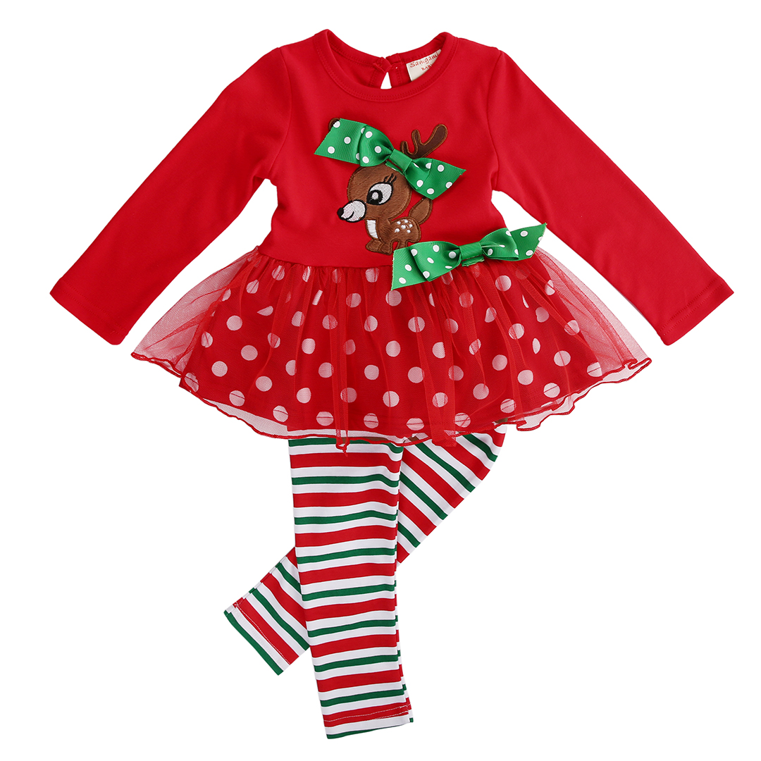 Christmas 2 Pcs Infant Baby Girls  Xmas  Deer T-shirt  Lace Tops+Long Pants Leggings Outfits Set 1-6Y Kids Girl  Clothing girls baby long sleeve tops t shirt bib cartoon minnie 2pcs outfits set 1 5y
