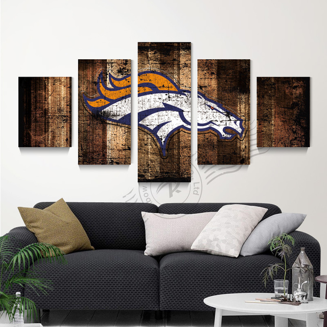 5 Panel Denver Broncos Flag Canvas Poster Oil Painting Art Home Decor Wall Picture For Living