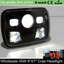 Newest Offroad 7Inch LED Work Light 7x6 LED Head Lamp H4 High Low Beam 45W LED Driving Light 7Inch LED Head Light For Trucks