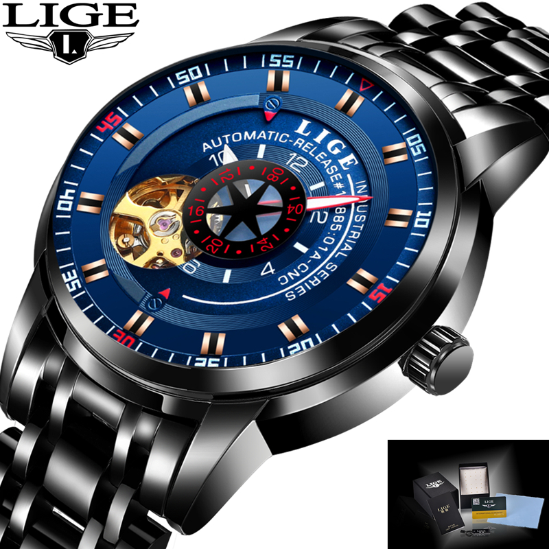 LIGE Mens Watches Top Brand Luxury Automatic Watch Men Full steel Wrist watch Man Fashion Casual Waterproof Clock relojes hombre fashion faux leather mens analog quarts watch blue ray men wrist watches 2017 mens watches top brand luxury casual watch man