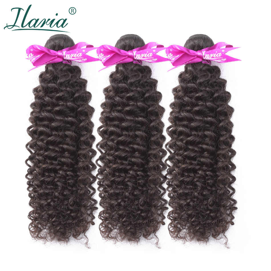 ILARIA HAIR Peruvian Kinky Curly Hair Bundles Unprocessed Curly Human Hair Bundles Weave Natural Color No Tangle Shipping Free 3