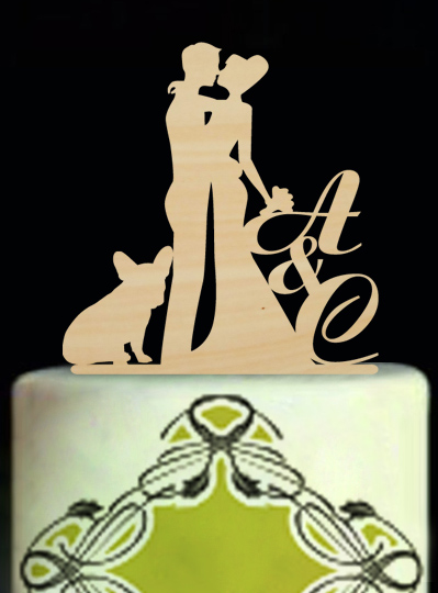 Custom Wedding Cake Topper Vintage Love Cake Toppers with Dog     Custom Wedding Cake Topper Vintage Love Cake Toppers with Dog Personalized  Wedding Decoration Initials Cake Design for Couples in Cake Decorating  Supplies