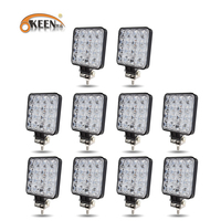 OKEEN 10pcs 4 inch 48 42W Offroad LED Work Light Spotlight Flood Spot Beam Drive Lamp for JEEP UAZ 4x4 Car 4WD Boat SUV ATV Moto