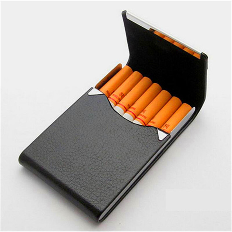 Portable Cigarette Case Magnetic Card Case PU & Stainless Steel Cigarette Box Popular Mens Gift Exquisite Gadgets for Men&Women