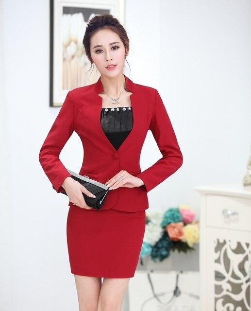 Aliexpress Com Buy Formal Red Blazer Women Business Suits Formal