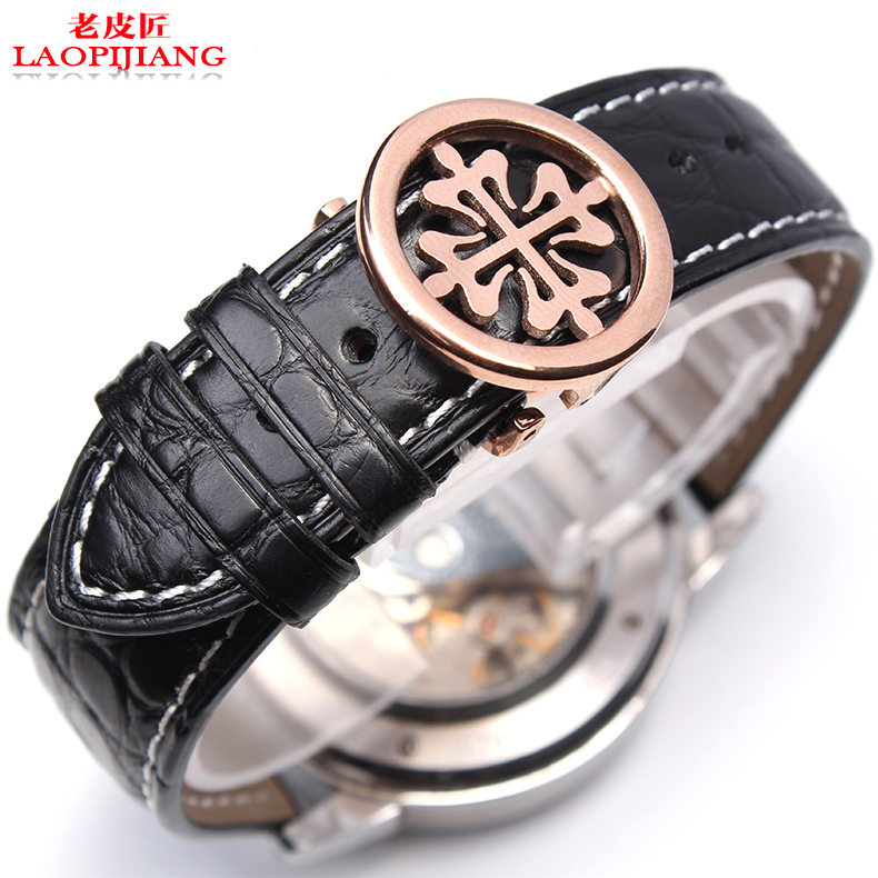 Watch accessories substitute P men and women leather watch straps Crocodile Leather Watchband 20MM black brown