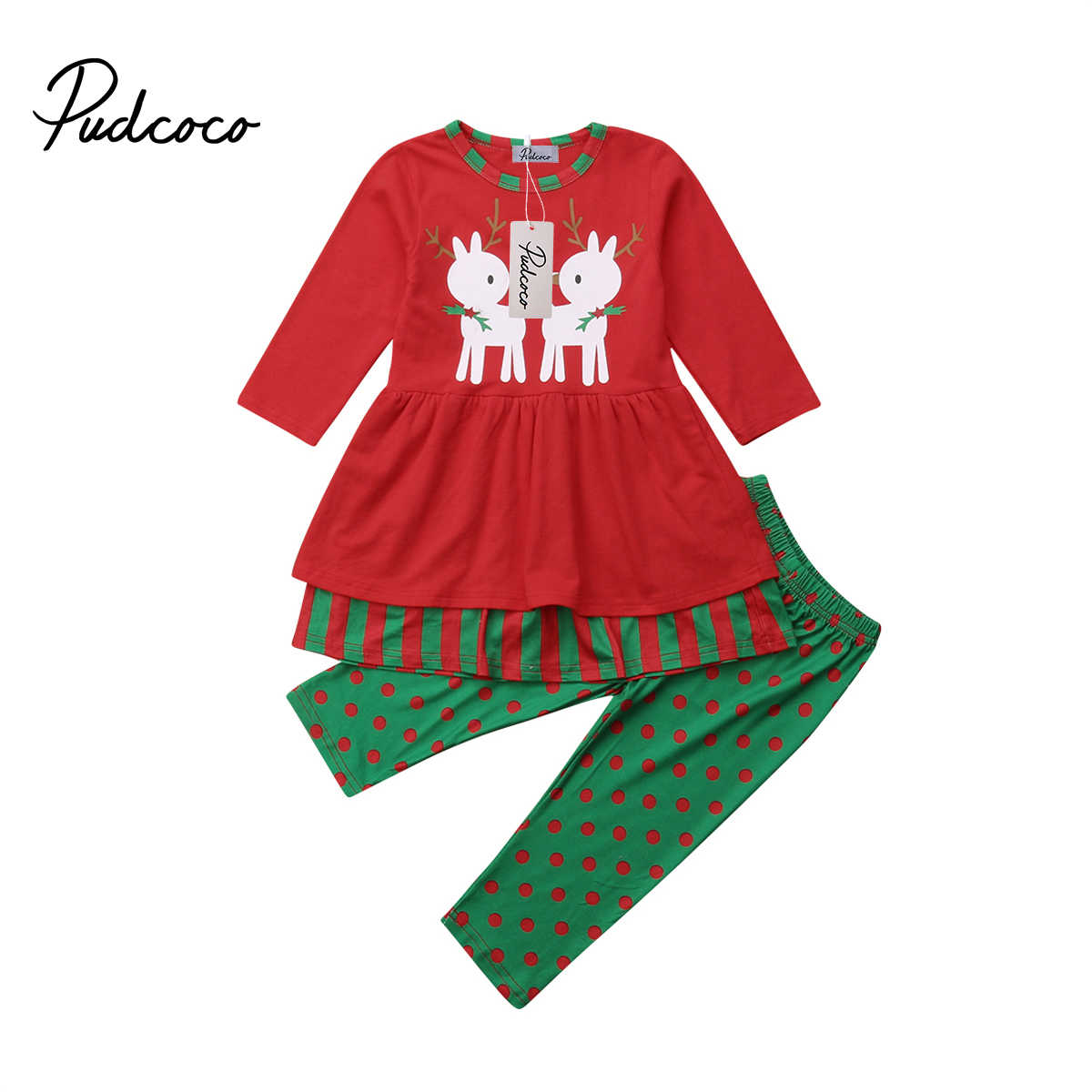 Pants Dress Outfits Set 2PCS Toddler Kids Baby Girls Xmas Clothes T-shirt Tops
