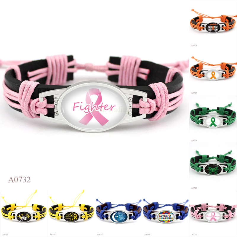 (10PCS/lot) Autism Awareness Strong Hope Fighter Warrior Ribbon Breast Cure Childhood Cancer Bracelets for Men Women Jewelry