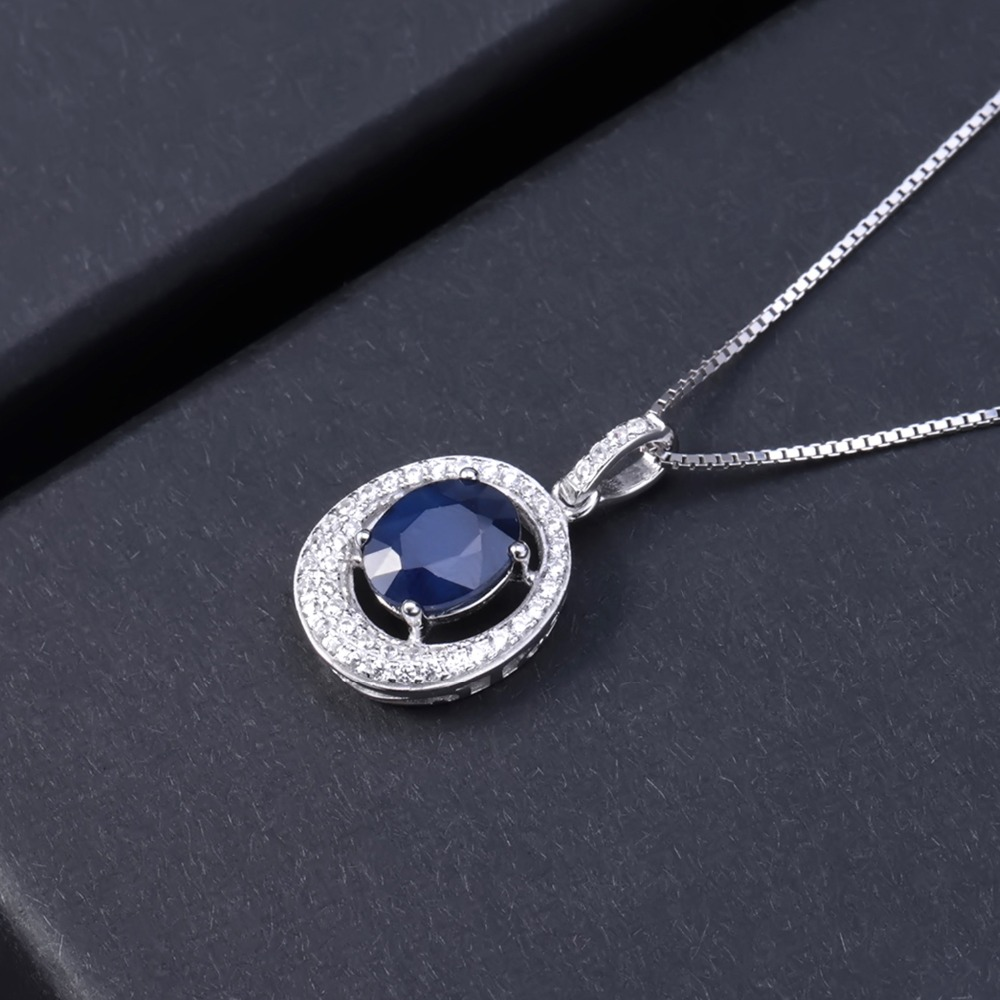 Image 3 - GEMS BALLET 3.24Ct Oval Natural Blue Sapphire Classic Pendant  Necklace 925 Sterling Silver Gemstone Fine Jewelry  for WomenPendants