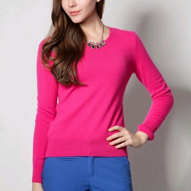 100% Pure Goat Cashmere Sweater Women Ladies Basic Solid Goat ...