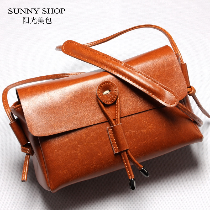 SUNNY SHOP Luxury Genuine Leather Handbags Nature Skin Women Bags Vintage Designer Cow Leather Women Messenger Bags Best Gifts