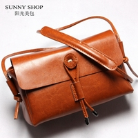 SUNNY SHOP Luxury Genuine Leather Handbags Nature Skin Women Bags Vintage Designer Cow Leather Women Messenger