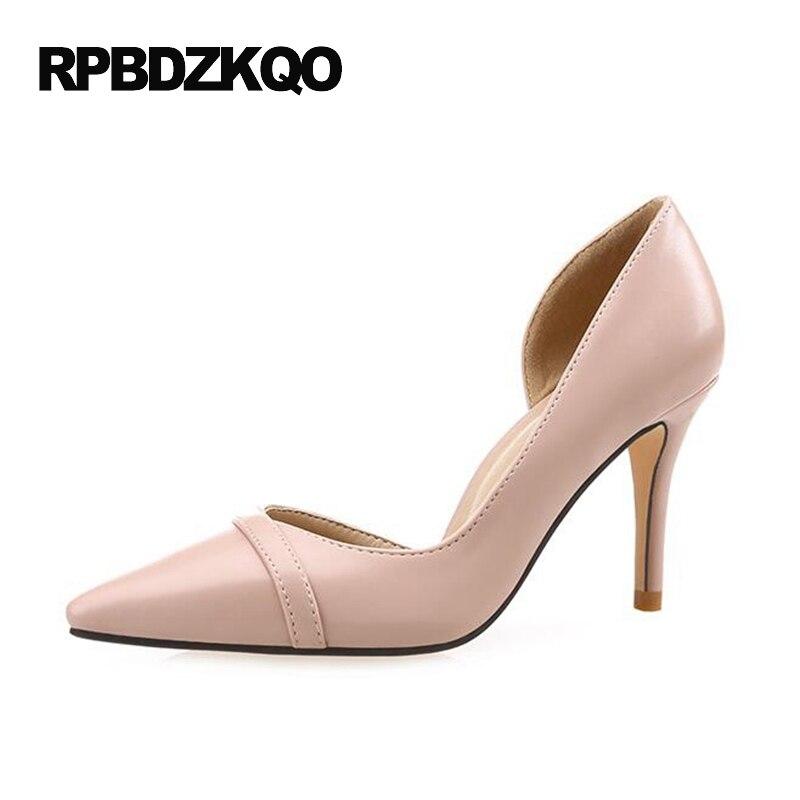 Patent <font><b>Leather</b></font> Pumps High Heels <font><b>Nude</b></font> <font><b>9</b></font> 41 4 34 Small <font><b>Size</b></font> Elegant Big Women 2017 33 Pointed Toe Scarpin Plus 7cm 3 Inch 40 Court