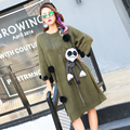 BringBring 2017 Spring Fashion Loose Knitting Dress With a Doll Hollow Out Wings on Back Army Green Sweater 1749