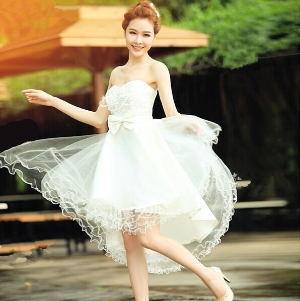 White-Strapless-High-Low-Wedding-Party-Dresses-Elegant-Dress-for-Wedding-vestido-de-festa-de-casamento