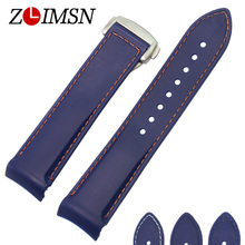 ZLIMSN Rubber Watchbands Mens 22mm Blue Diver Curved End Silicone Watch Band Strap Stainless Steel Buckle Sport Replacement