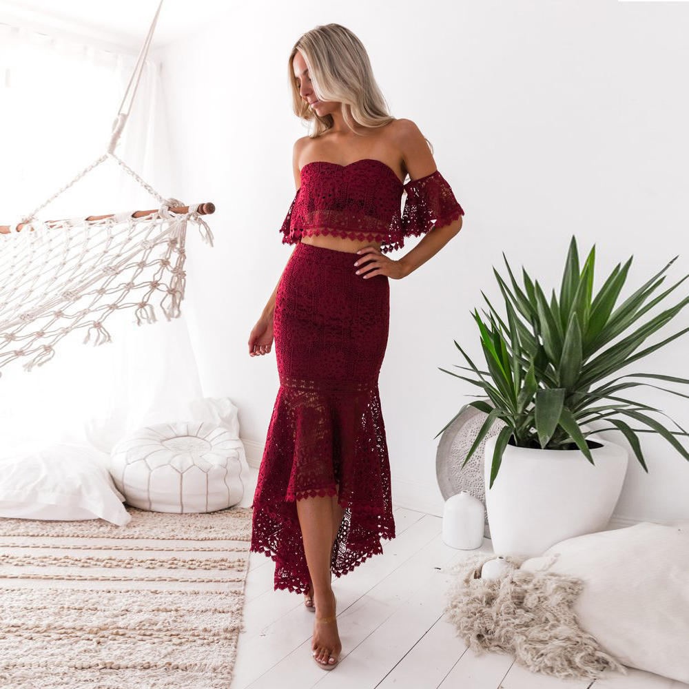 Short High Low Lace 2 Pieces Cocktail Dresses Cut Out Lace Party Dress Gown Blue Burgundy Homecoming Dress