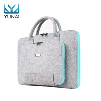 YUNAI Wool Felt 15 Inch Laptop Bag Briefcase Handbag Business For Macbook Notebook Computer Laptop Sleeve