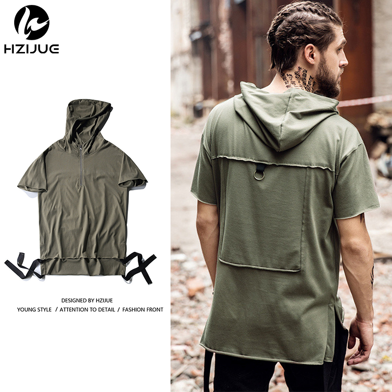 HZIJUE New Summer Hoodies Fashion Men   T     shirts   Loose Hat Retro High Street clothing top tees male   T     shirts   streetwear TOP 2018