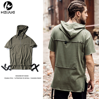 HZIJUE New Summer Hoodies Fashion Men T Shirts White Hat Retro High Street Clothing Top Tees