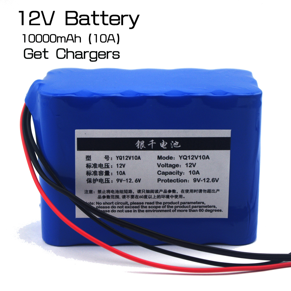 Large capacity <font><b>12v</b></font> <font><b>10ah</b></font> 12.6v <font><b>lithium</b></font> <font><b>battery</b></font> miner lamp <font><b>12v</b></font> <font><b>battery</b></font> xenon lamp <font><b>lithium</b></font> <font><b>battery</b></font> + 3A charger image