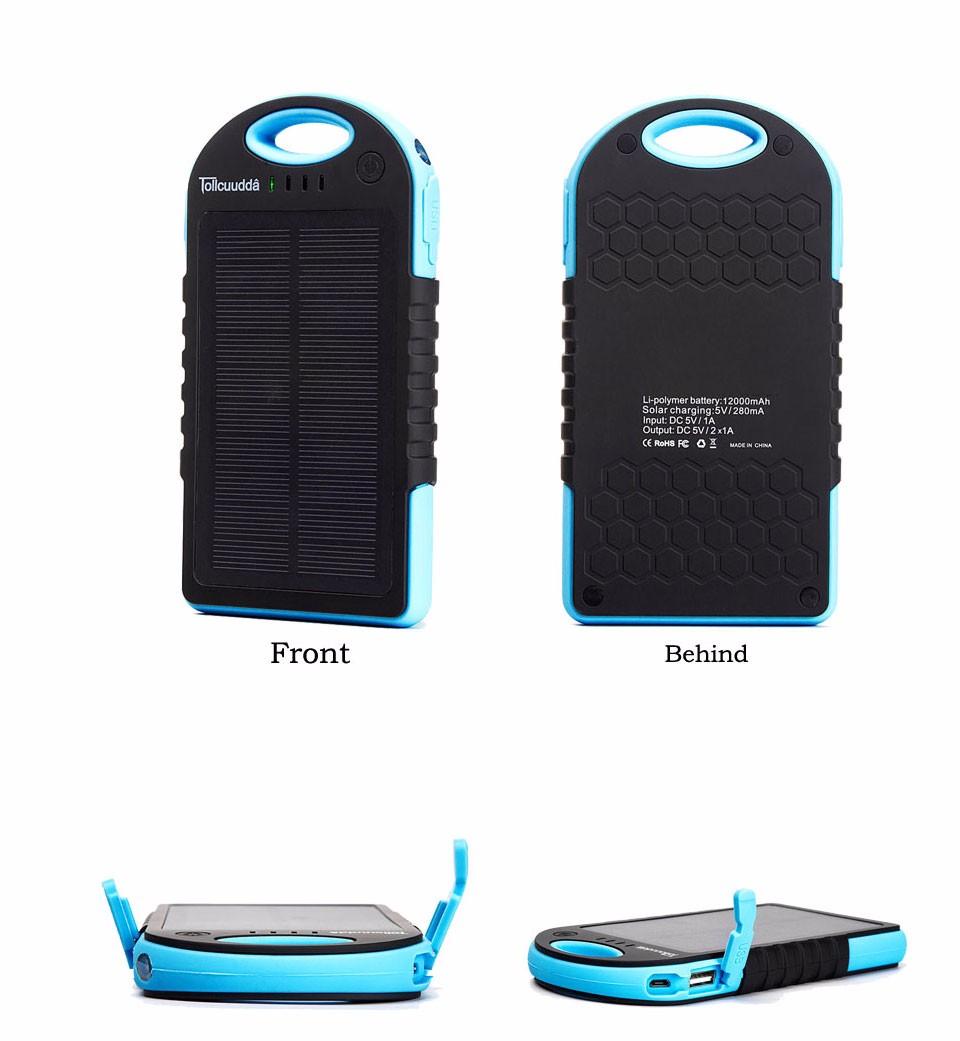 Tollcuudda Solar Panel Power Bank 100mAH Battery External Celular Charger Cargador For Xiao Mi universal Phone Solar PoverBank 25