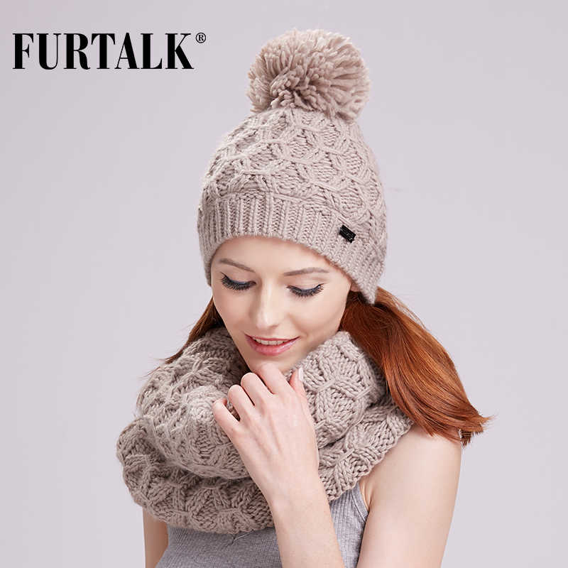 0167ccb3 FURTALK winter women scarf hat set knit wool skullies beanies real ...