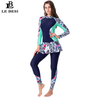 LEBESI 2019 New Women One Piece Skirt Swimsuit Sports Bathing suit Plus Size Swimwear Print Long Sleeve Pants Zipper Surf suit