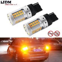 IJDM รถ 7440 LED ไม่มีแฟลช Hyper Flash Amber สีเหลือง 48 SMD 3030 LED W21W T20 หลอดไฟ LED สำหรับไฟเลี้ยวไฟ,CANbus ข้อผิดพลาดฟรี,12 V