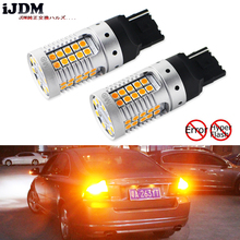 iJDM Car 7440 LED No Hyper Flash Amber Yellow 48-SMD 3030 LED W21W T20 LED Bulbs For Turn Signal Lights ,Canbus Error Free,12V 4 led 12v vehicle signal lights 2 pack yellow
